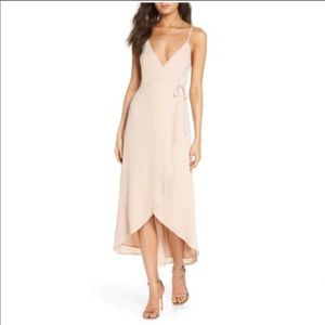 Show Me Your MuMu Meghan Blush Wrap Midi Dress NWT